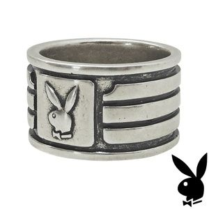 Mens Playboy Ring Wide Band Silver Plated 9 10 11